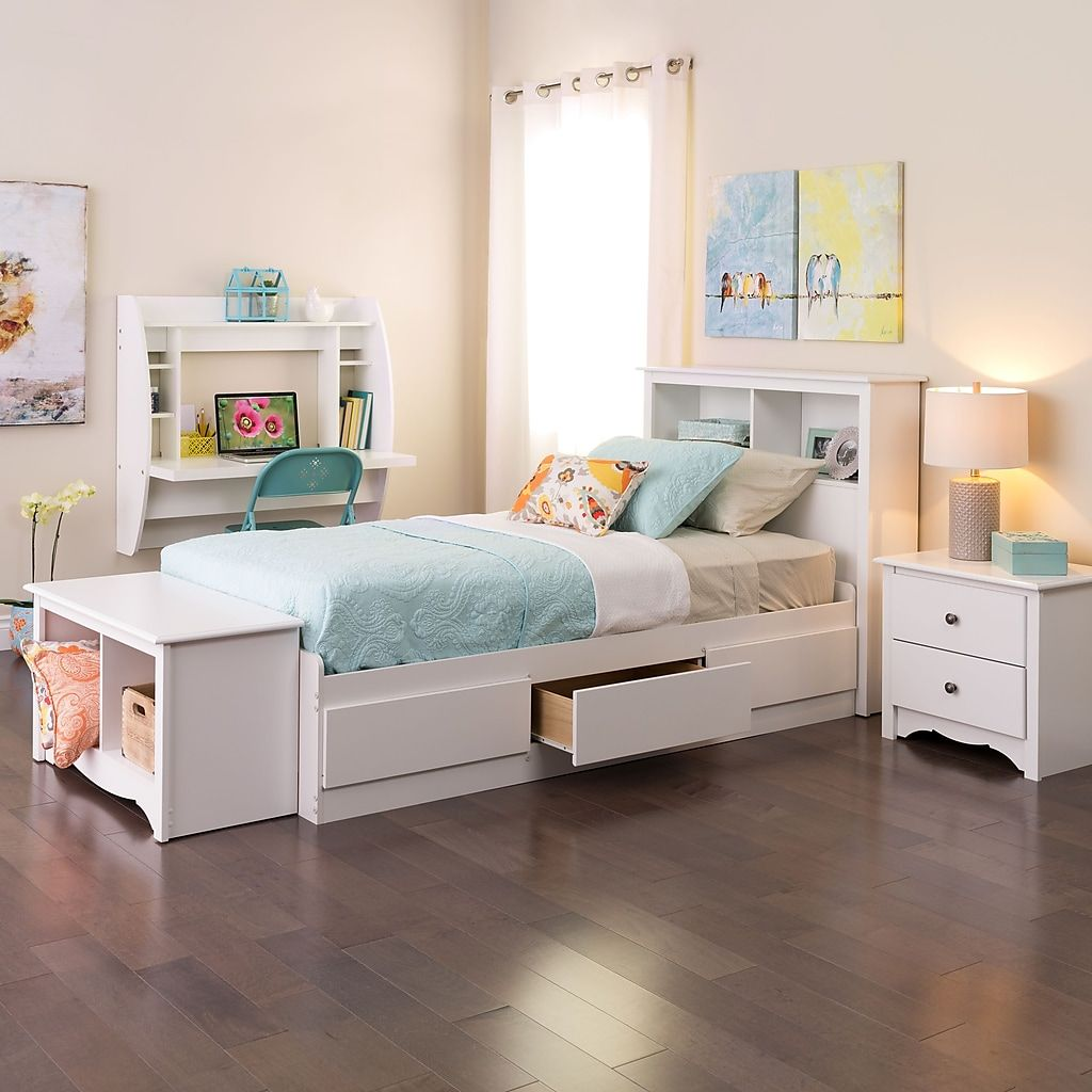 Prepac Wall Mounted Floating Desk With Storage White Wehw 0200 1 At Staples In 2020 Cozy Bedroom Furniture Kids Beds With Storage Storage Bed