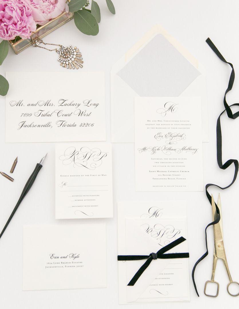 Black And White Modern Calligraphy Wedding Invitation Suite Modern Calligraphy Wedding Invitation Calligraphy Wedding Invitation Modern Wedding Invitations