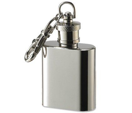 "#2) 1 oz. socket size, shiny chrome, Stainless Steel Flask Key Chain Size: 1 1/8"" inches x 1 1/2"" inches x 3/4"" inch - a great way to carry a shot of rum: fantastic for it's medicinal properties, from dental to disinfectant to pain reducer."
