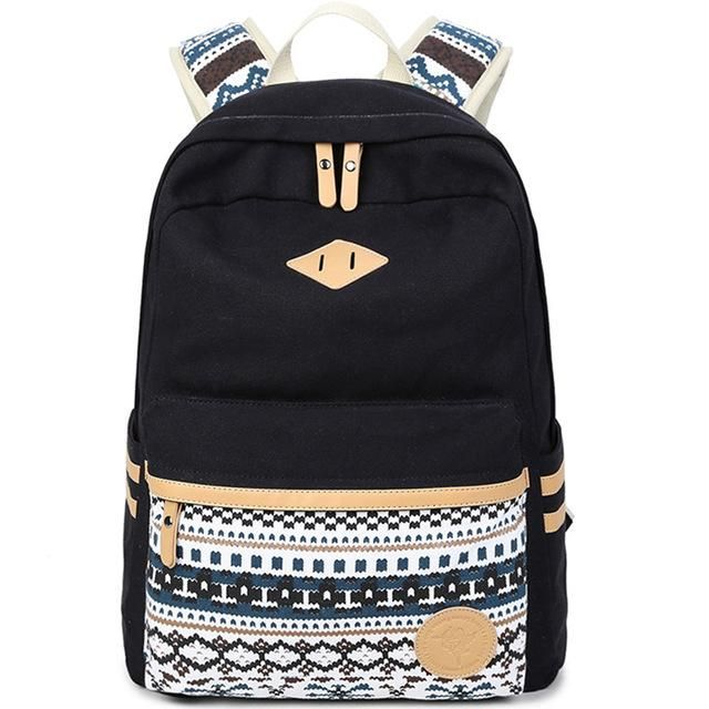 f07b8d0d8a XQXA Vintage Backpack Women Laptop Bag Canvas Printing School Bags for Teenagers  Girls Rucksack Mochila Feminina