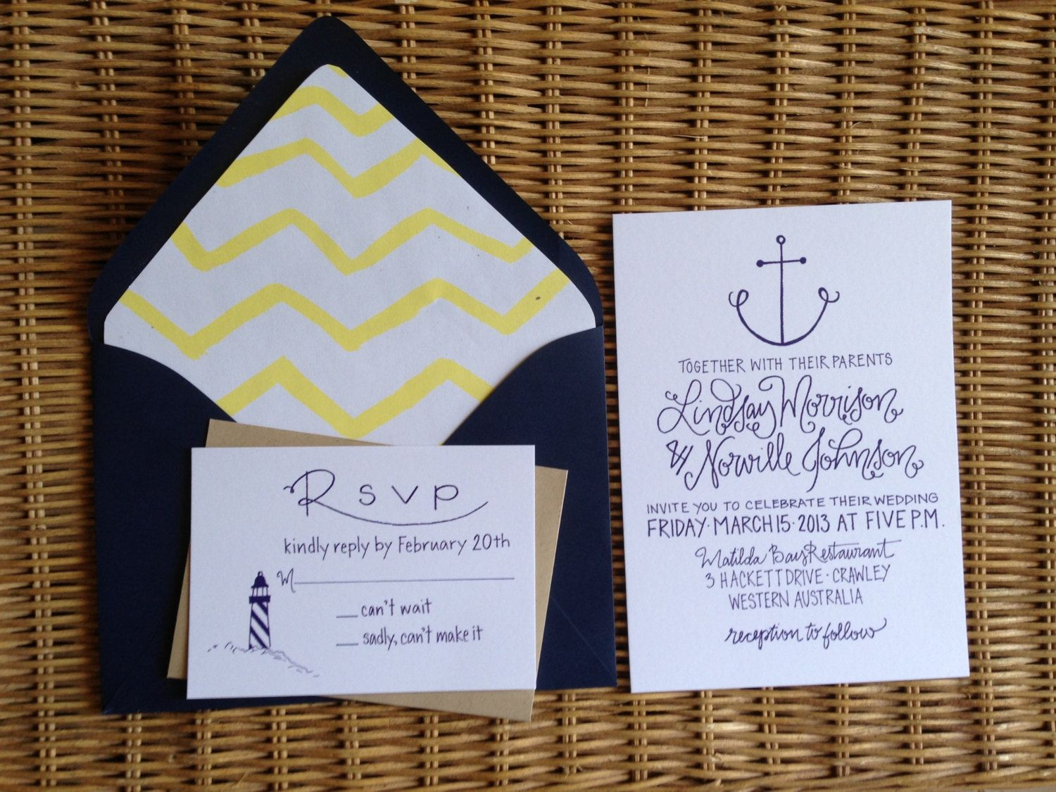 Nautical Wedding Invitations Calligraphy Anchor u0026 Lighthouse
