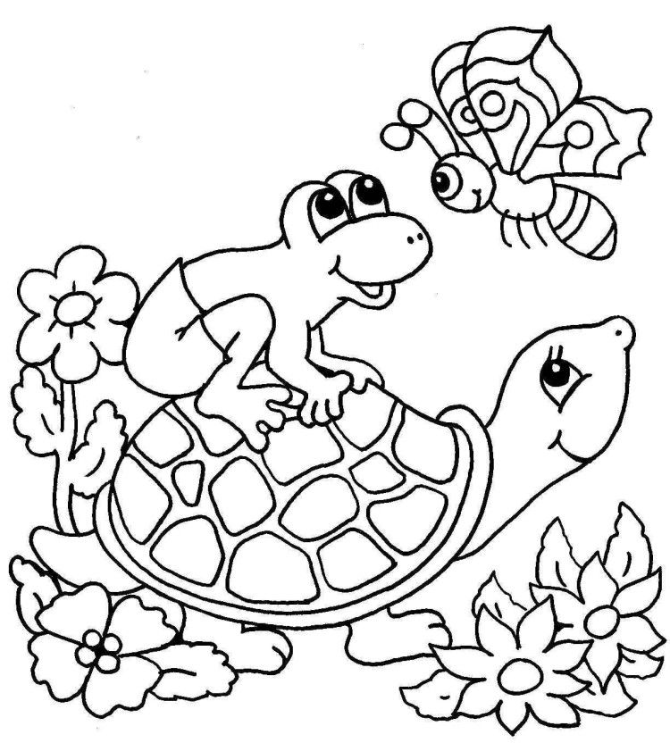 Turtle And Friends Coloring Pages Kids Coloring Pages In