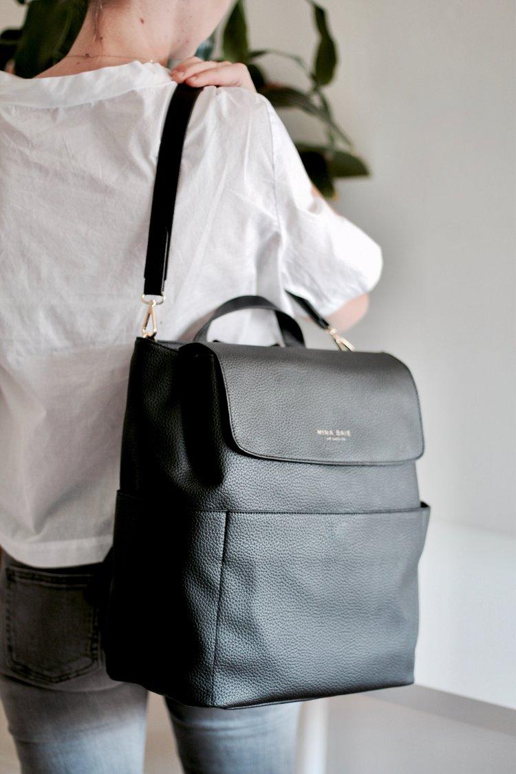 Vegan Kinney Backpack Black Convertible Cross Body Black Diaper Bag Luxury Diaper Bag Chic Diaper Bag
