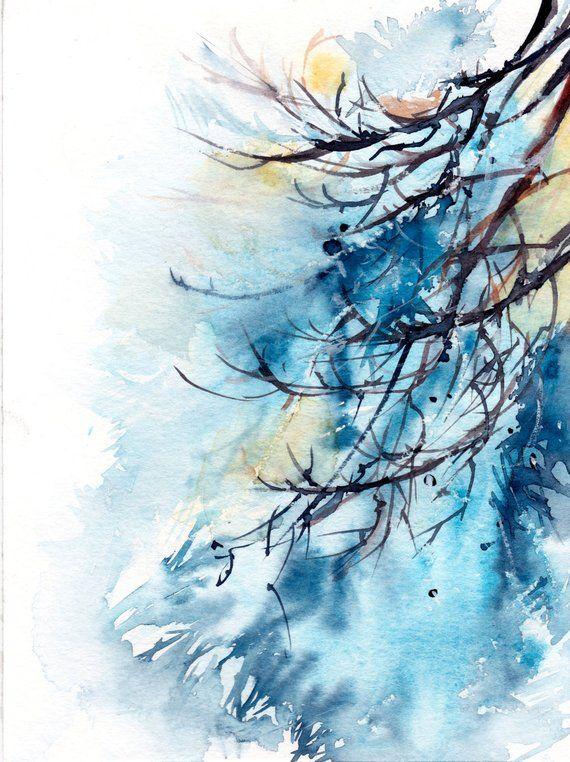 Winter Baum Zweige ORIGINAL-Aquarell, Malerei, moderne abstrakte Realismus-Natur Aquarell Kunst