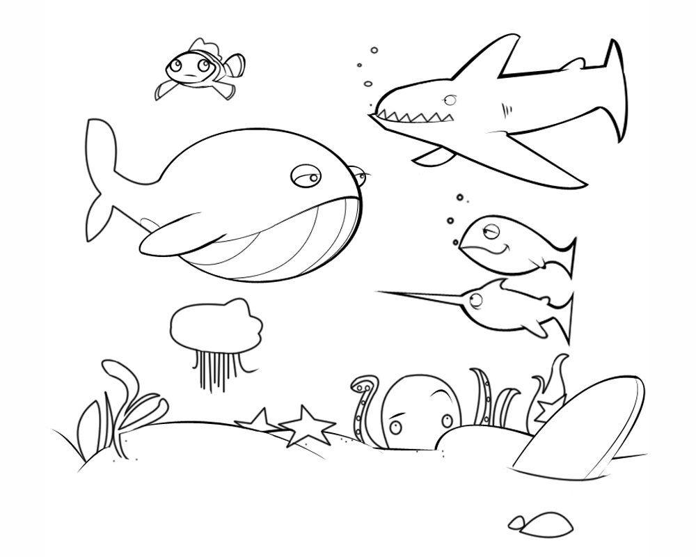 Dibujos De Animales Marinos Para Colorear Fondo Marino Para Pintar Fondo Marino Dibujos Animales Marinos