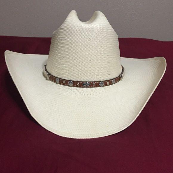 Straw Stetson 8X cowboy hat Cream straw Stetson 8X cowboy hat ... 2eddeafb895f