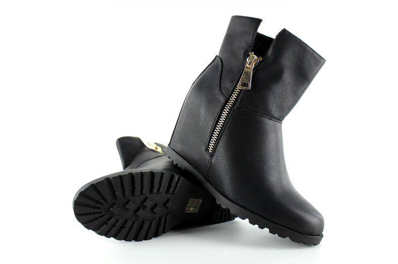 Botki Damskie Obuwiedamskie Czarne Botki Na Baranku Ukryty Koturn El025 Czarny Obuwie Damskie Boots Rubber Rain Boots Rain Boots