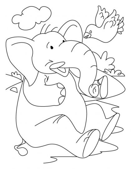 Elephant With A Bird Coloring Page