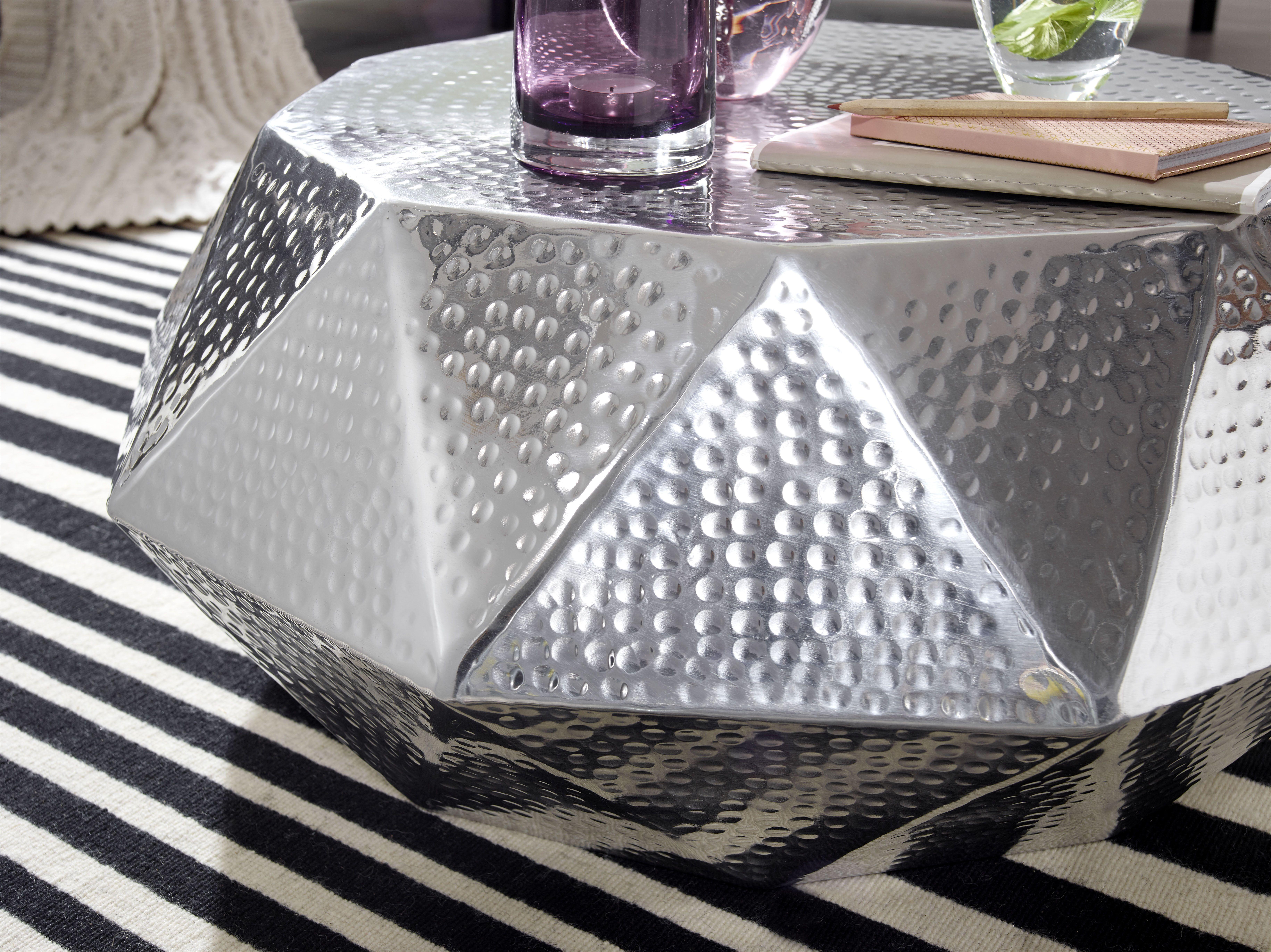 Wohnling Couchtisch Diamant Silber Wl5 508 Aus Aluminium Silber Metall Wohnidee Dekoration Ablage Wohnen Wohnzimmer Beistelltische Aluminium Silber
