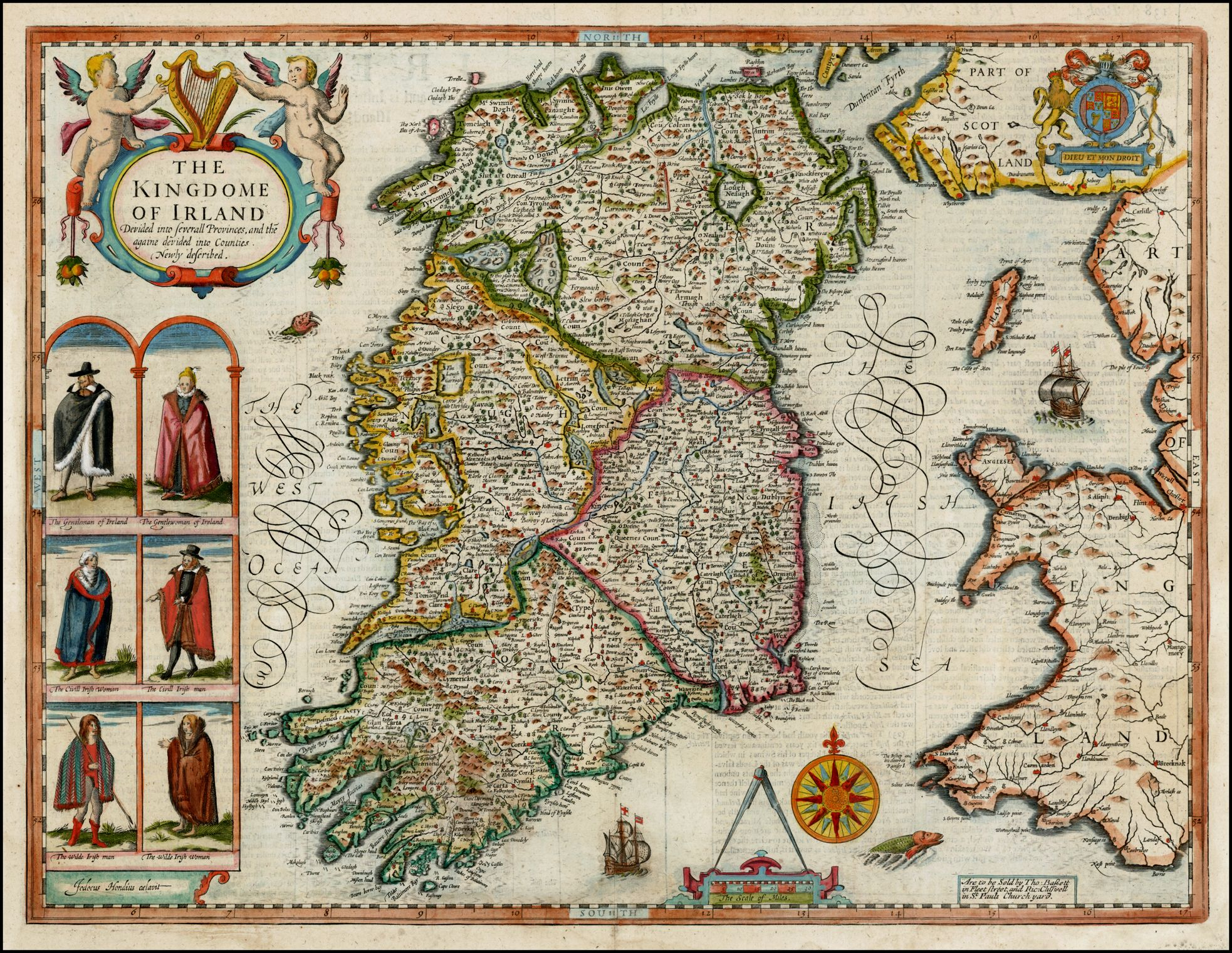 Antique Colour Map of Ireland by John