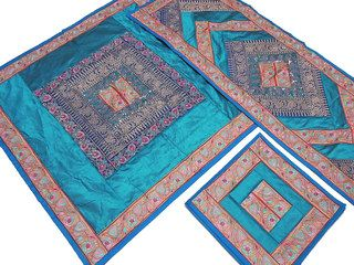 Teal Pretty Table Linens Set   Indian Embroidered Tablecloth Runner 4  Placemats