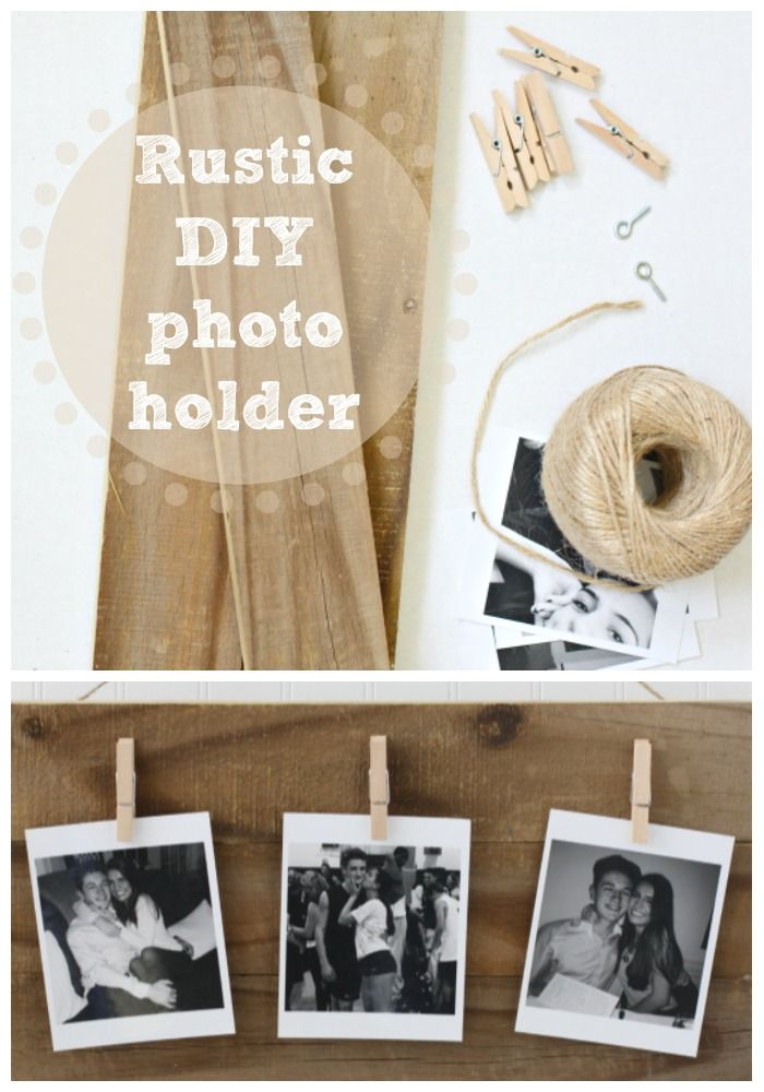 Rustic Photo Holder DIY | Love of Home. Make this with a few supplies. Perfect gift for Mother's or Father's Day!