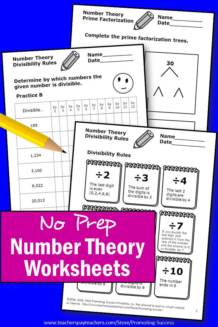hight resolution of Number Theory 4th 5th 6th Grade Mathematics Activities   Number theory