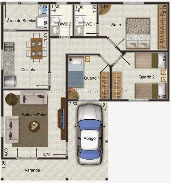 Image result for planta de casas 80m2 com garagem for Casa moderna 80m2