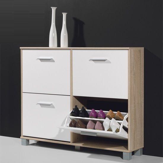 Modern Shoe Storage Cabinet In Canadian Oak And White Shoe