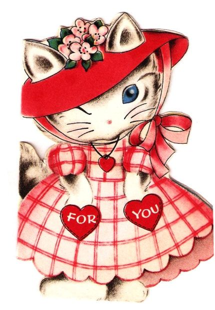 Vintage Valentine Card Sweet Kittens Cats Paper By Paperprizes Be