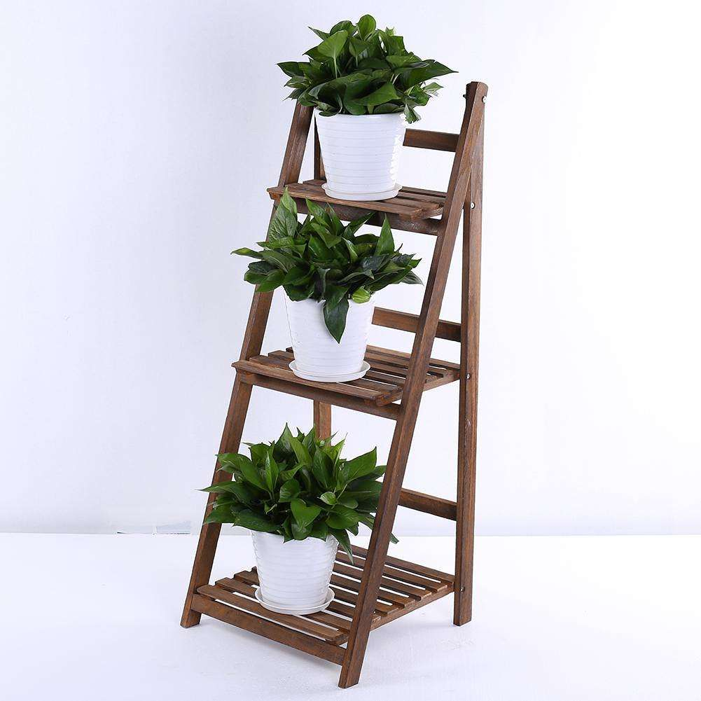Wooden Ladder Shelf 3 Tier Plant Flower Storage Shelves Multi Book