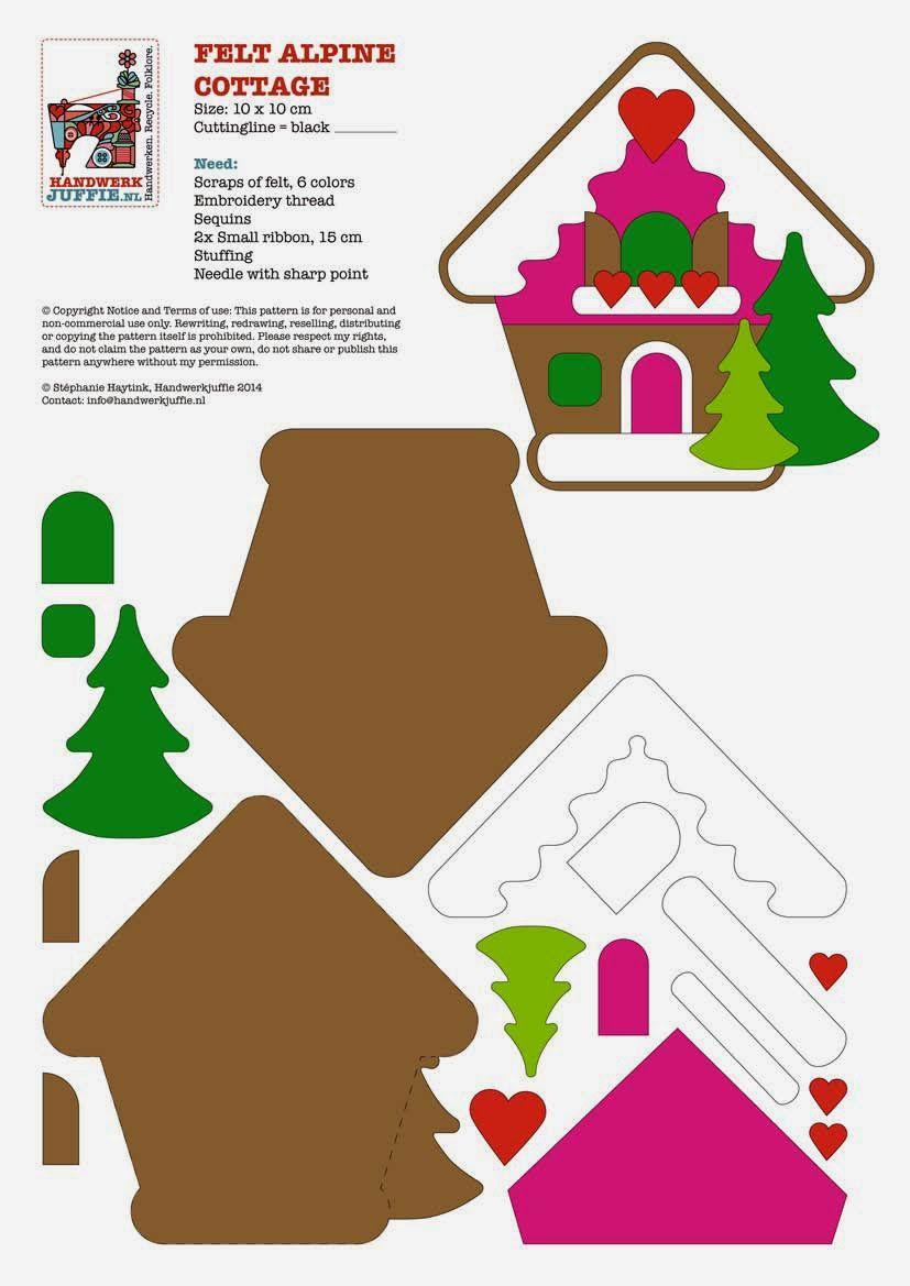 gingerbread house template felt  Handwerkjuffie: TUTORIAL …   Felt christmas decorations ...