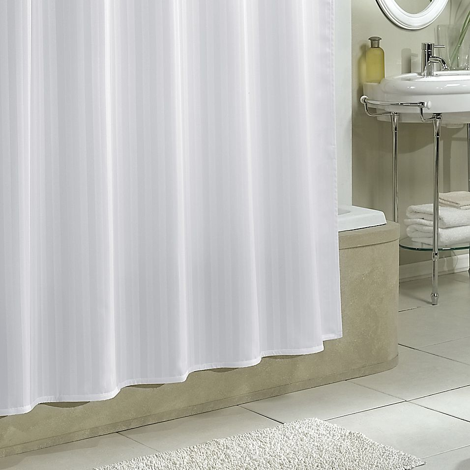 Excell Polyester Damask Stripe Shower Curtain Liner In White