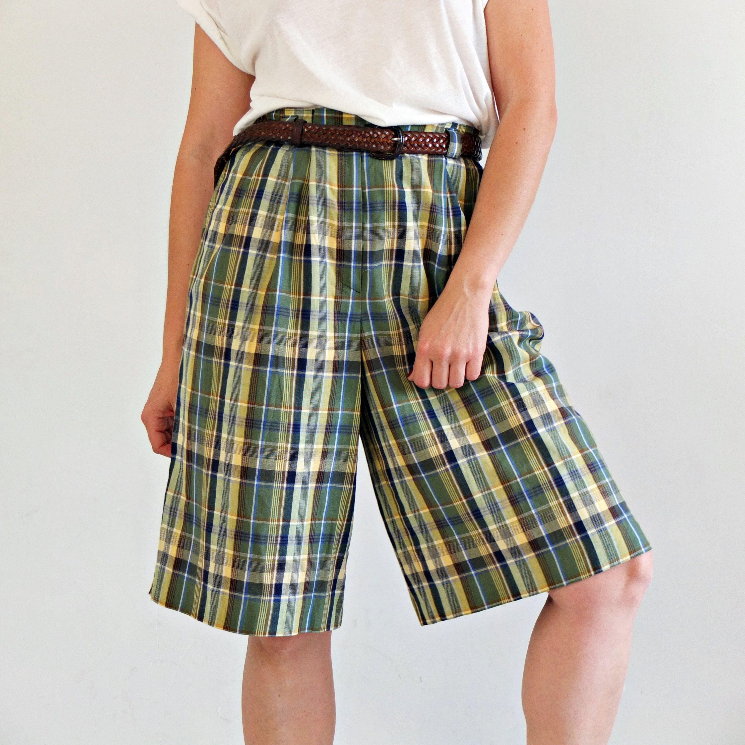 90s Gray Plaid Wide Leg Shorts 36-38 Waist Vintage High Waist Plaid Short Womens Plus Size 1X