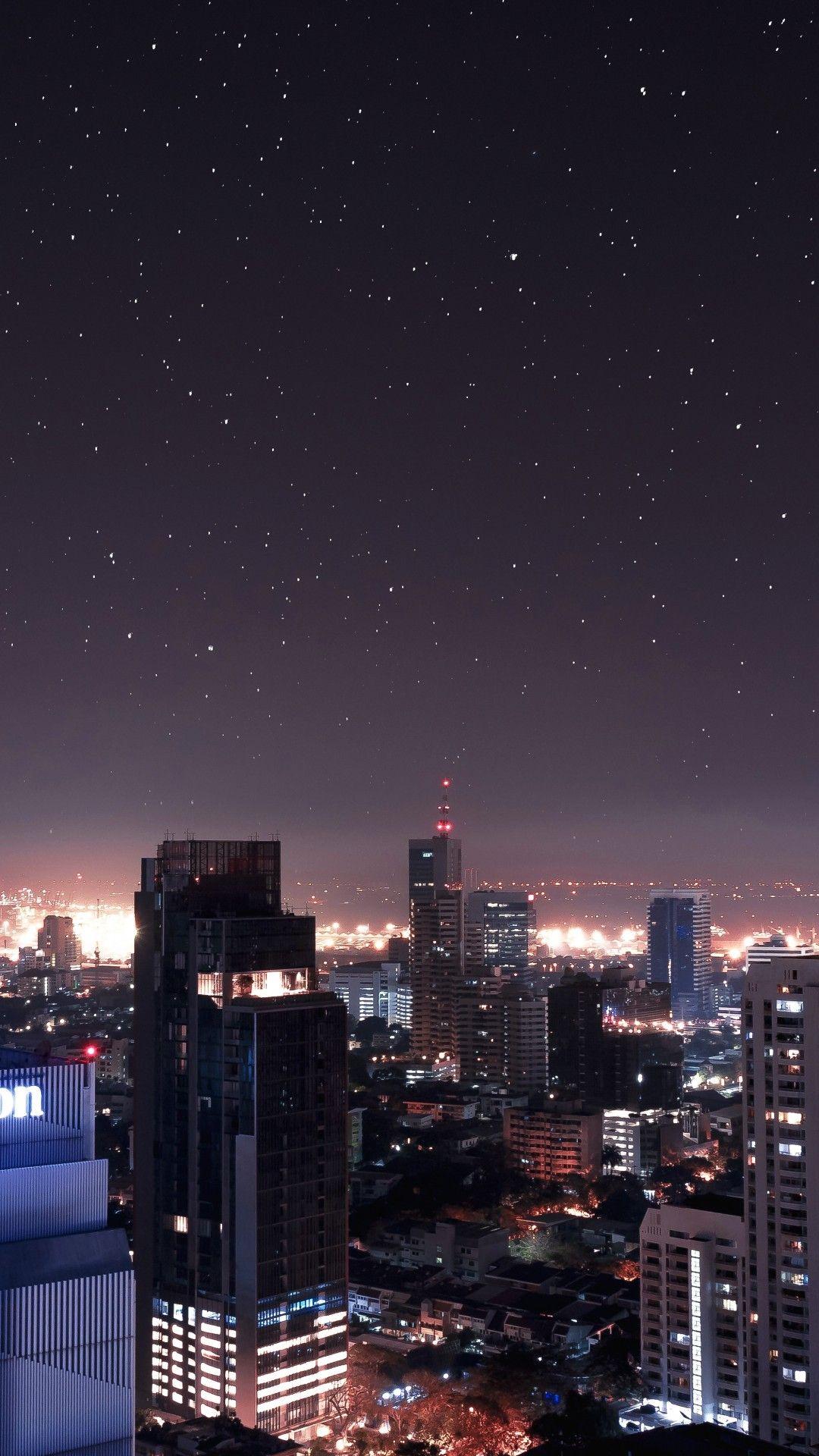 Night Stars Buildings Skyscrapers Cityscape Cityscape Wallpaper City Aesthetic Sky Aesthetic