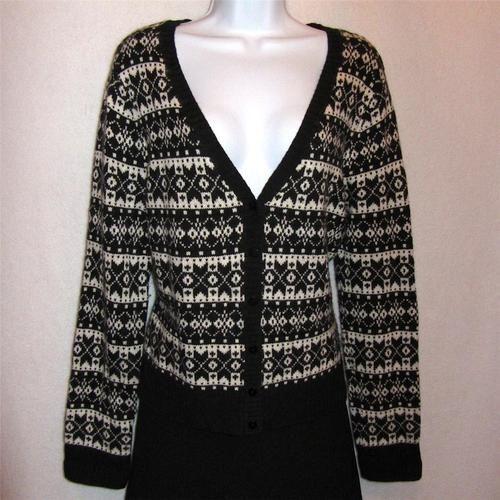 Talbots Lambs' Wool Black White Fair Isle Sweater | Knitting Fair ...