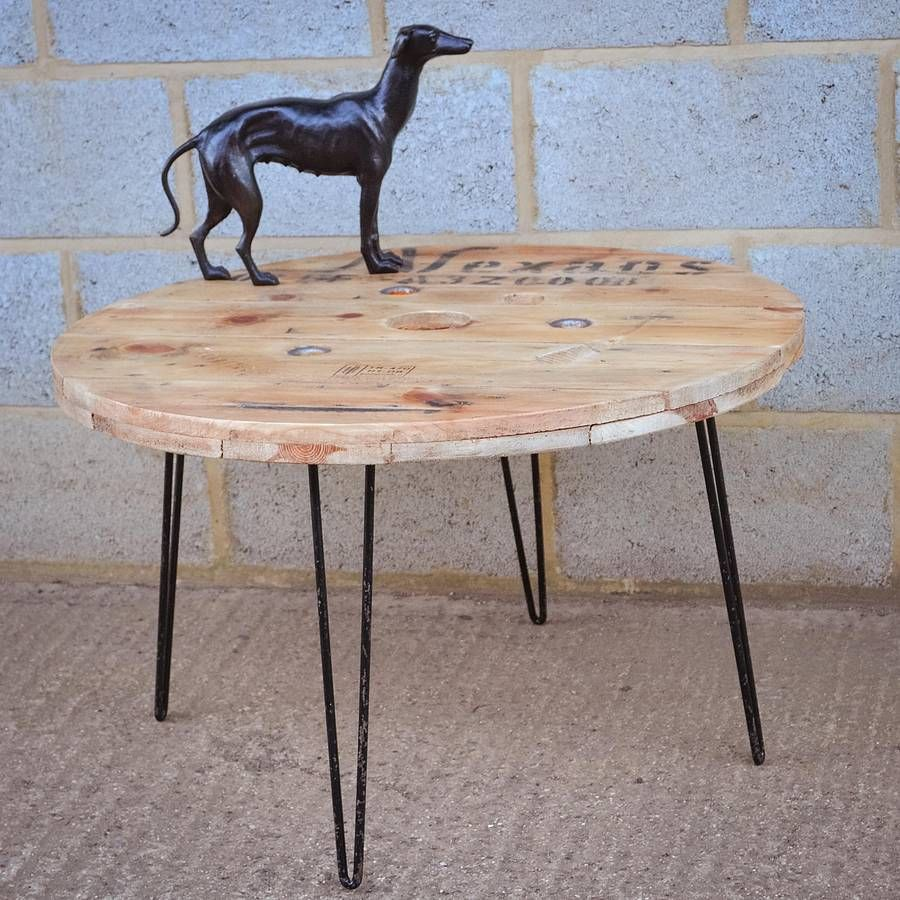 Cable Reel Coffee Table With Hairpin Legs Cable reel
