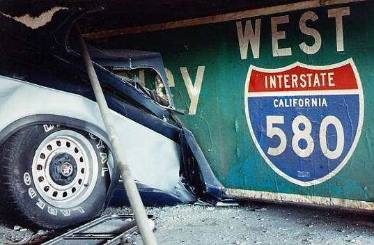 Car Under Collapsed Deck On I 880 To I 80 The 1989 Sf