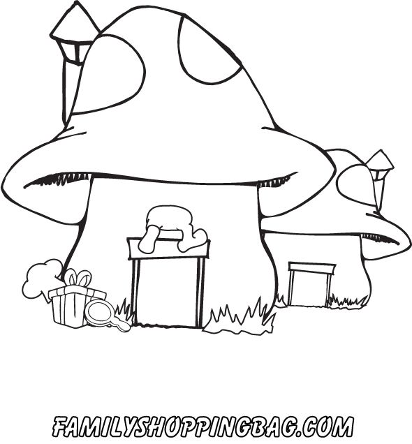 House key coloring page mushroom house coloring pages for Smurf house coloring pages