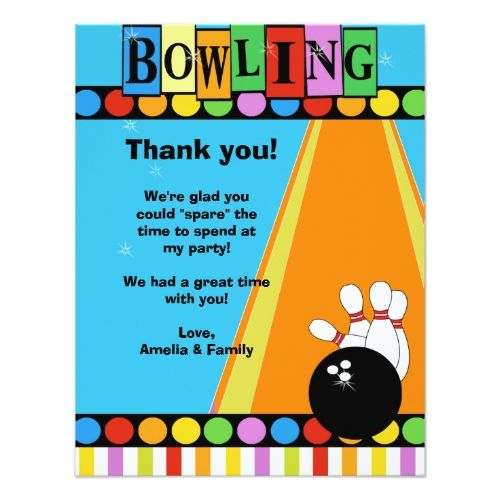 Bowling Birthday Party Invitations BOWLING PARTY 4x5 Flat Thank - bowling invitation