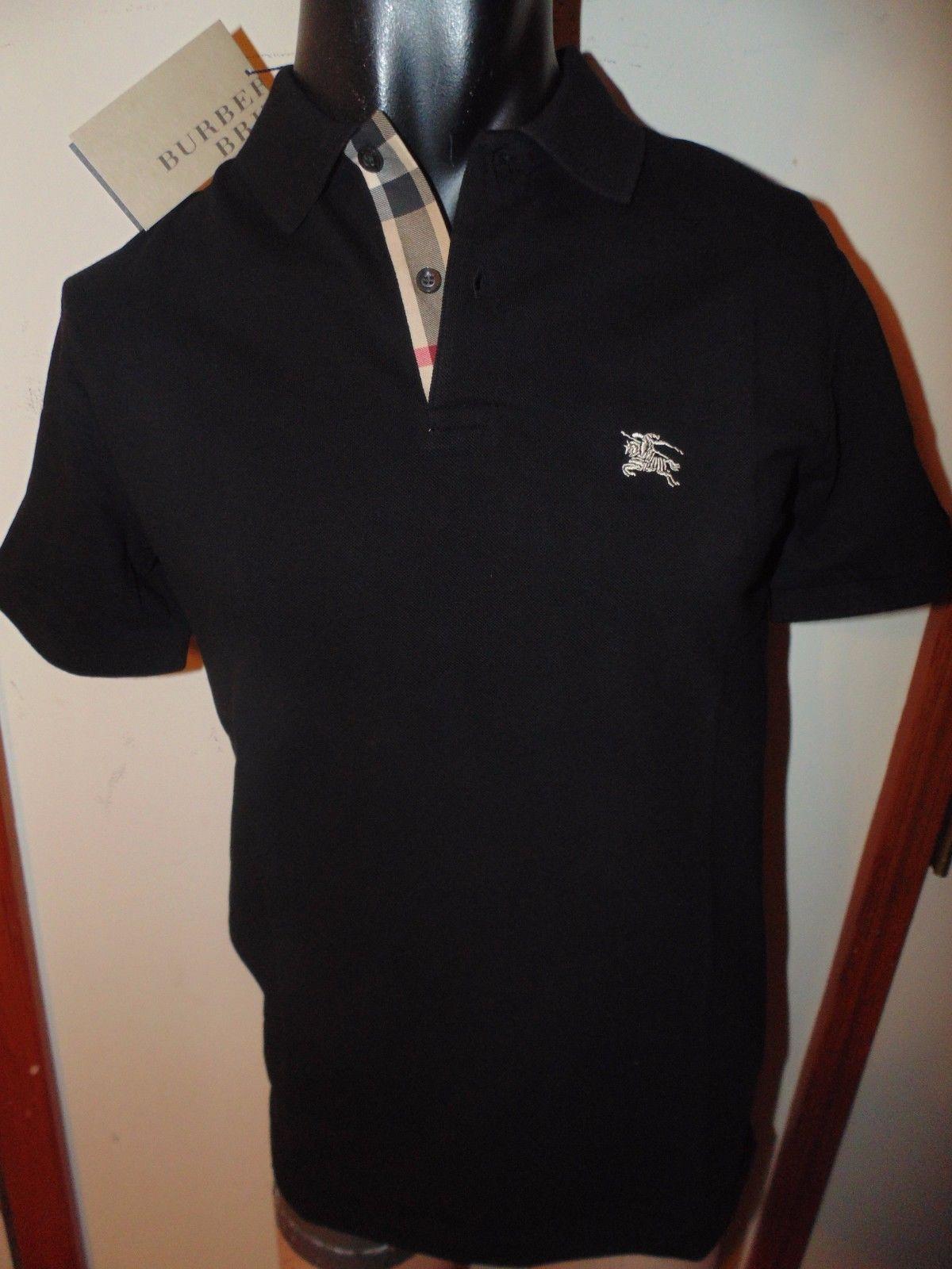 Casual Shirts 57990  Burberry Brit Men S Black Short Sleeve Nova Check  Placket Polo Shirt S M L Xl -  BUY IT NOW ONLY   80 on eBay! 7259bb61835f