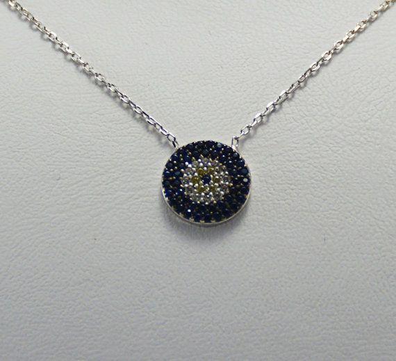 925 Sterling silver Evil Eye NecklaceSilver evil by KurtArtJewelry