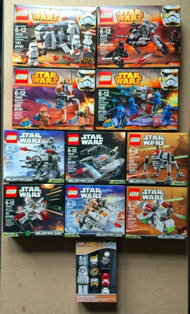 10 Sets Lot Star Wars Lego Series 2 Microfighters Buildable Watch