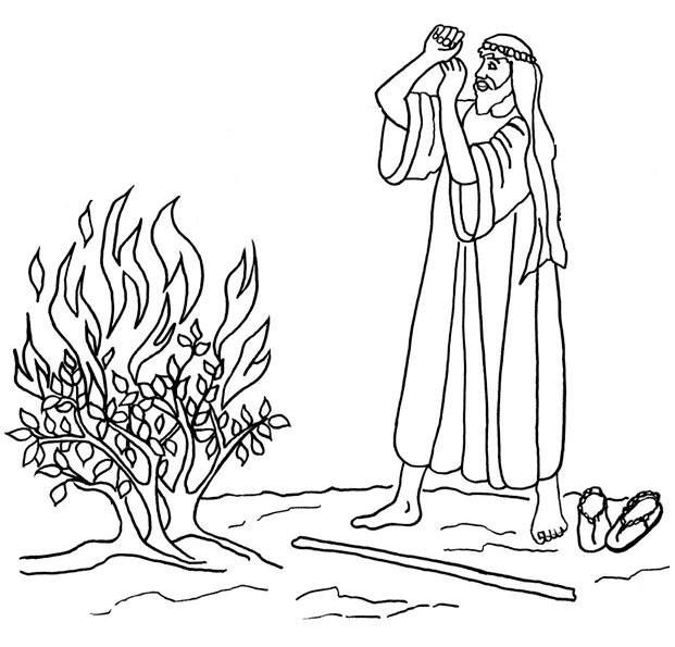 Bible Story Crafts Moses Burning Bush Coloring Page