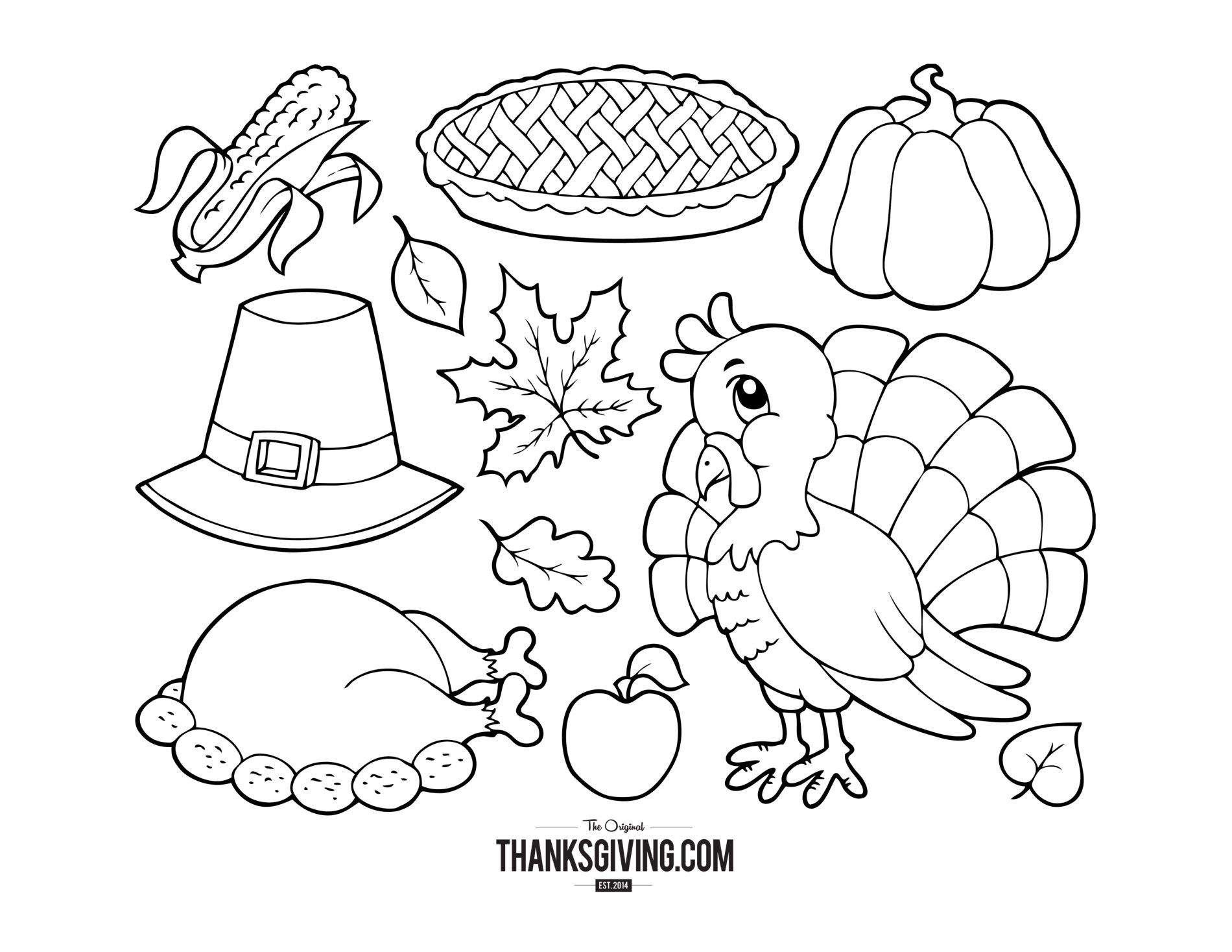 Turkey Dinner Coloring Page
