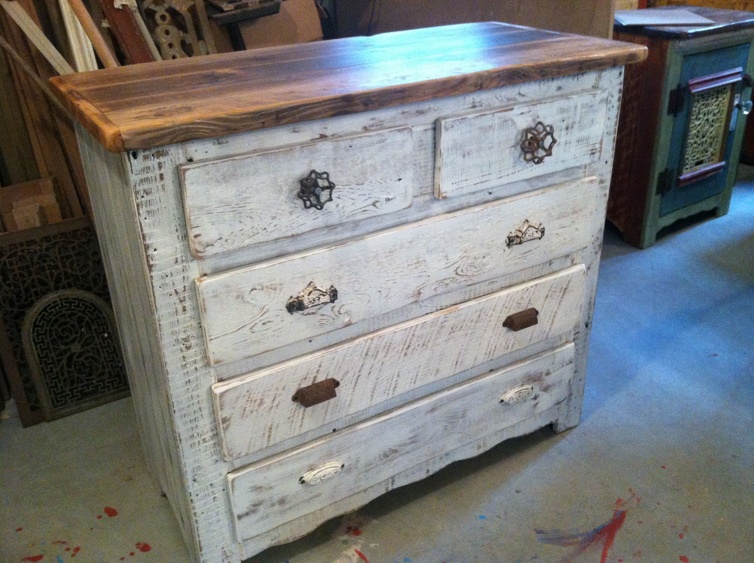 Captain S Dresser In Antique Whitewash With Natural Fir Plank Top Master Bedroom Furniture White Washed Bedroom Furniture Furniture