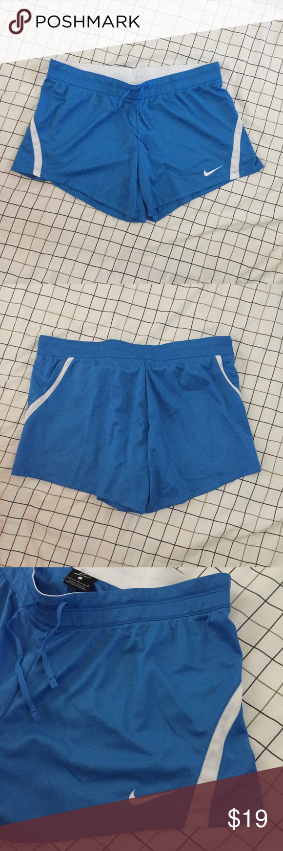 Nike Large Dri-Fit Infiknit Training Shorts New Women's Nike Large Dri-Fit Infiknit Training Shorts  Style: 724426-435 Size: large Drawstring waist  Materials: 100% polyester  Measurements: Waist: 17in Hips: 19in Inseam: 13in Length: 11.5in  Tag price: $30 Nike Shorts
