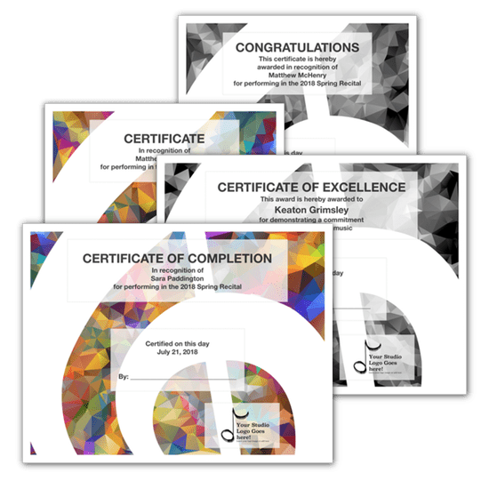 Recital Certificates Certificate templates, Recital