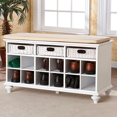 White Shoe Storage Bench Forget Leaving Dirty Shoes In The Hallway Or By Door