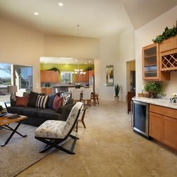 Living Room Wine Bar Tucson Table Centerpieces Open Dining Floor Plan With Ceramic Tile Floors Built In