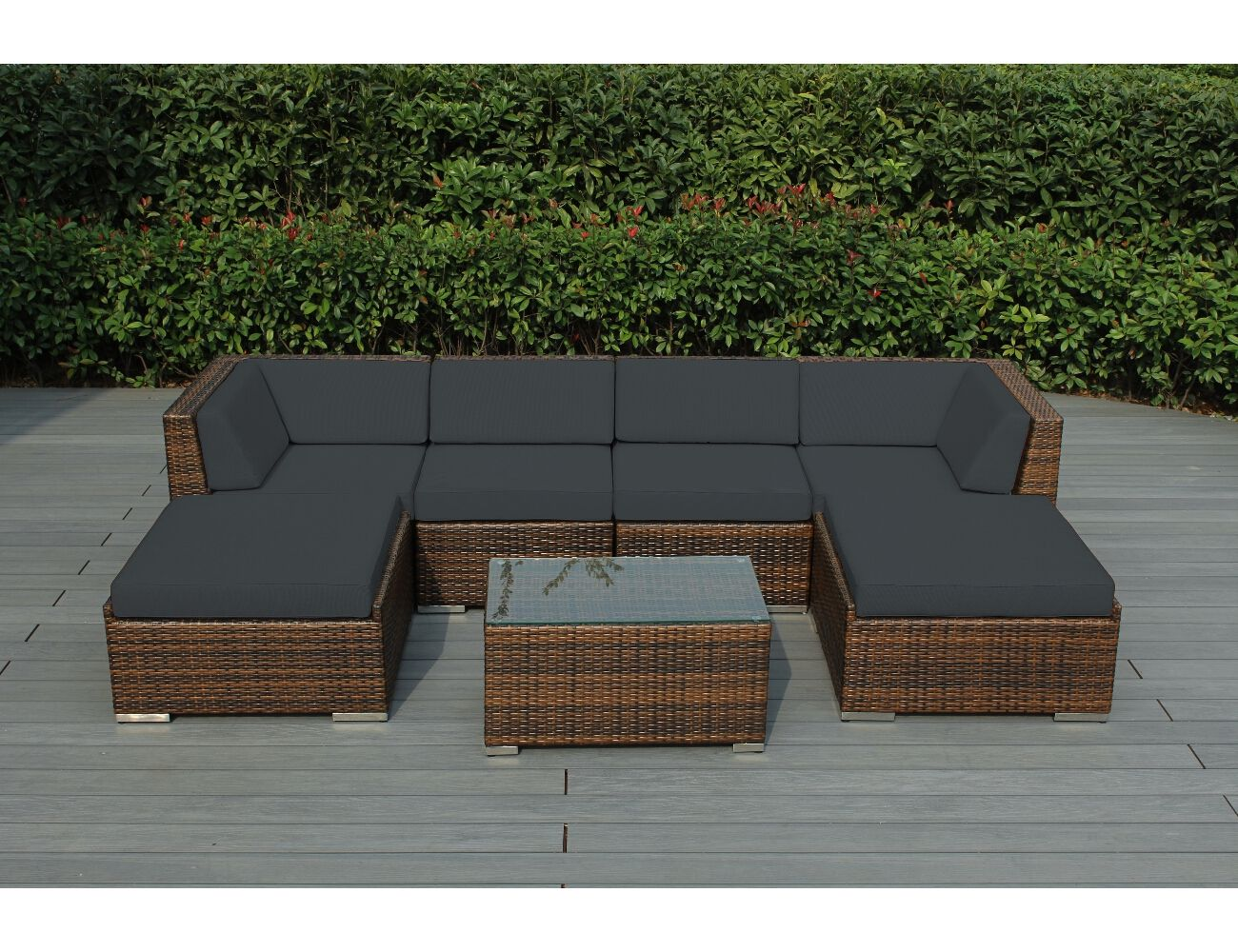 gray furniture spuncrylic brown dark wicker with mixed ohana sets patio outdoor pin seating
