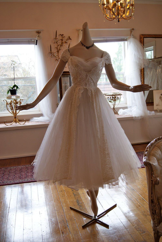 SOLD Wedding Dress 50s Vintage 1950s White Ballerina By Lorrie Deb Size XS Via Etsy