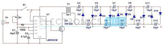 Stun Gun Circuit | Electronics | Circuit, Electronic schematics, Diy