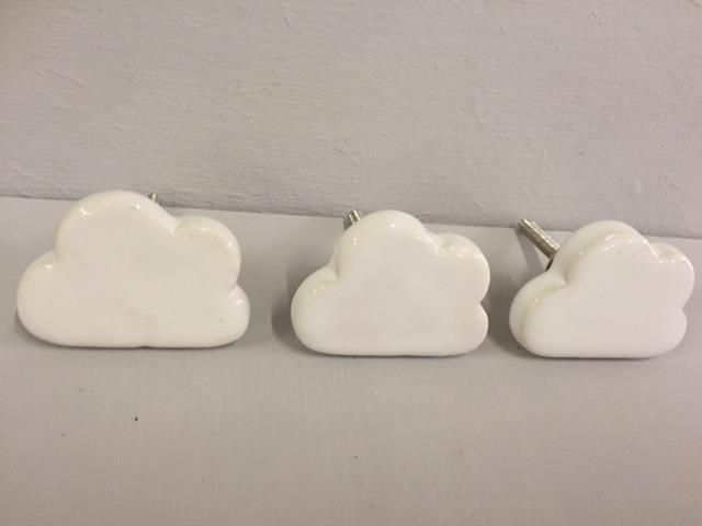 New CERAMIC WHITE CLOUD DRAWER DOOR KNOBS Children Baby Bedroom ...