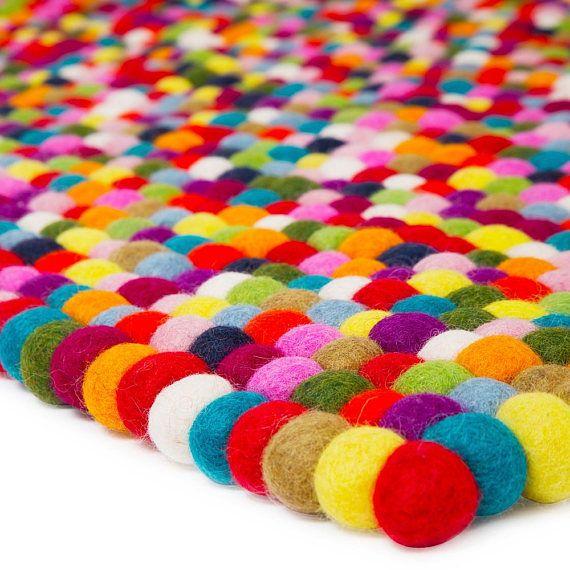 Wool Multi Colored Rectangle Felt Ball