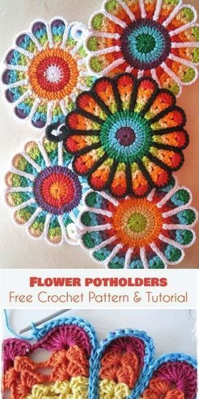 Flower Potholders Coasters [Free Crochet Pattern and Tutorial] #kitchen