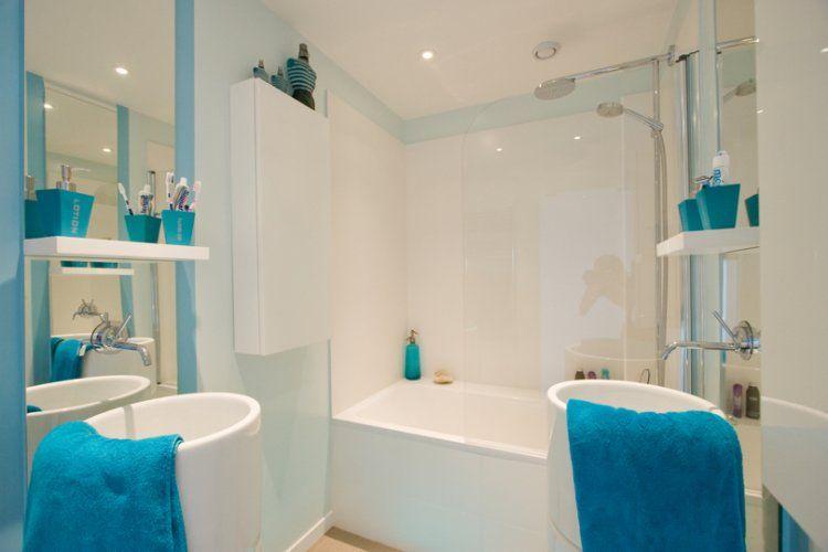 Salle de bains bleu turquoise Salles de bain Pinterest - salle de bain en bleu