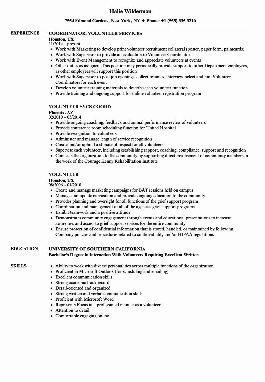 Volunteer Experience Resume Example Lovely Volunteer