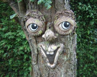 Charmant Garden Ornaments, Sculpture, Statues, Large Tree Face, Funny Faces, Gifts  For Gardeners, Handmade Yard Art Funny Faces On Trees Smiling Face