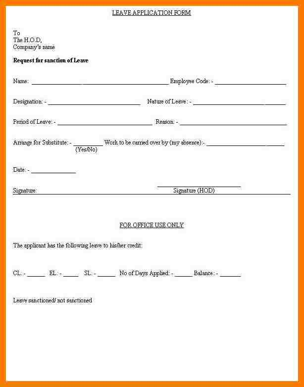 Application For Leave Form Impressive 6 Simple Leave Request Form Park Attendant Request Letter For .